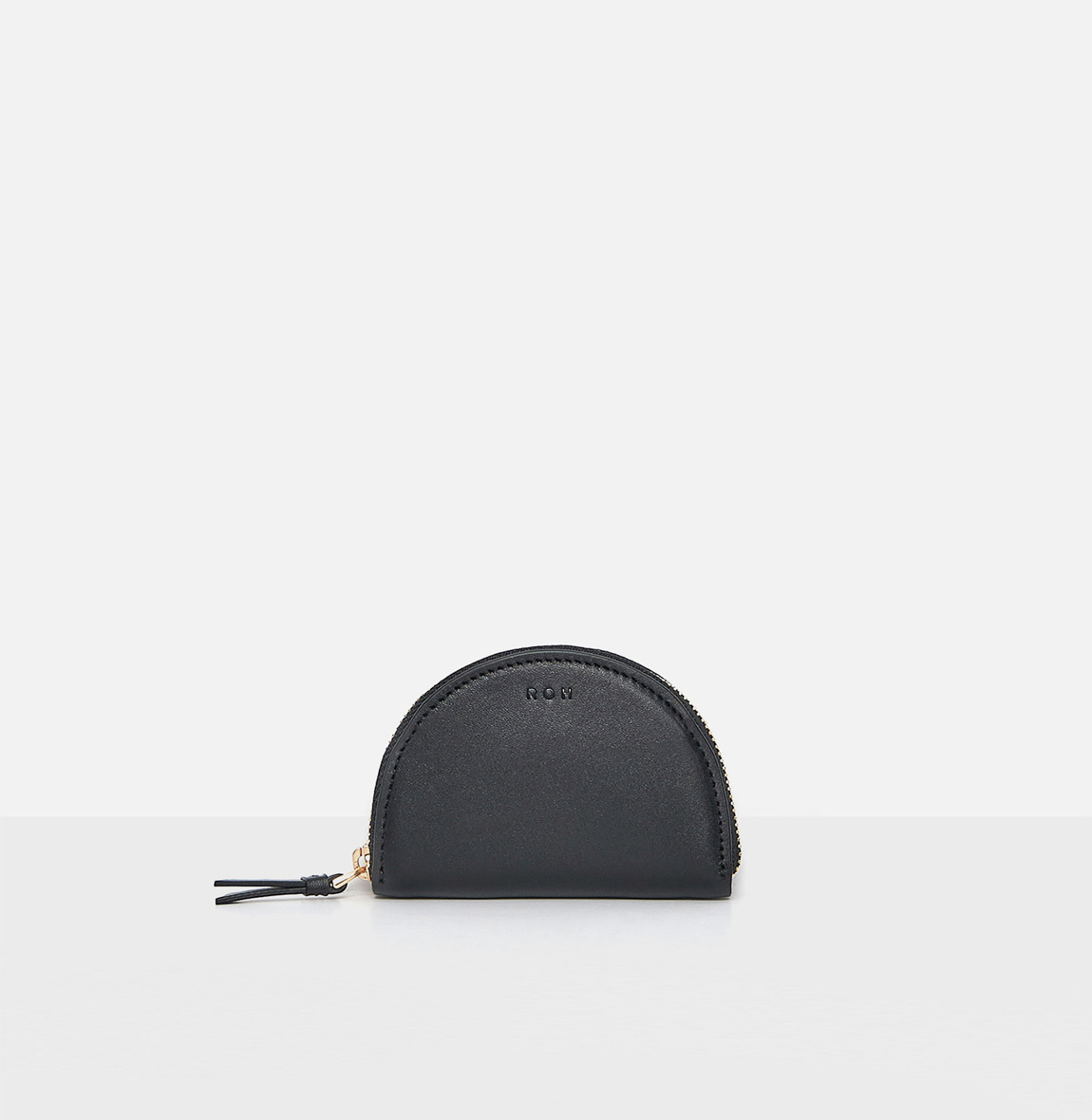 Half moon coin zip wallet Black