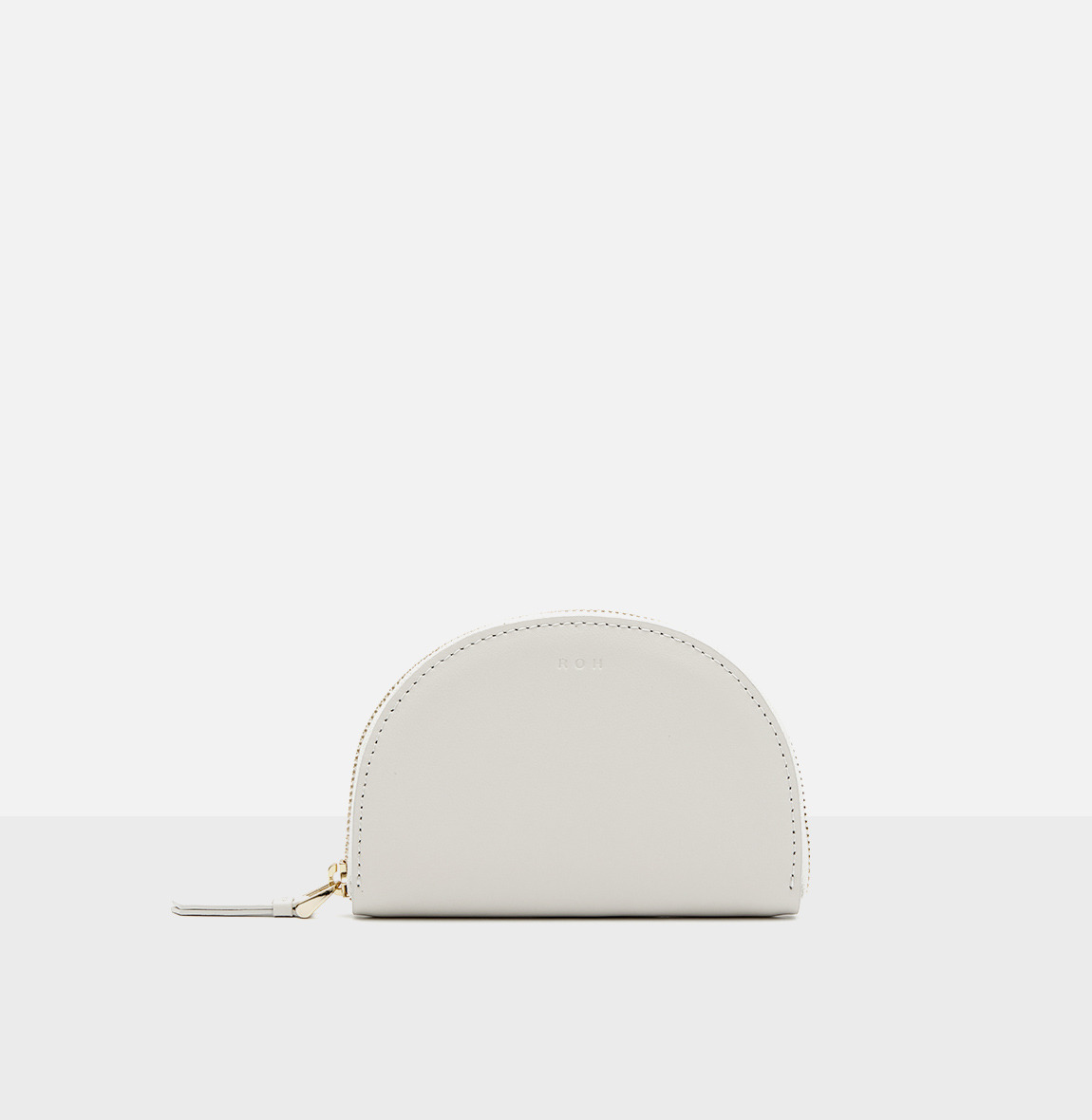 Half moon card zip wallet Ivory