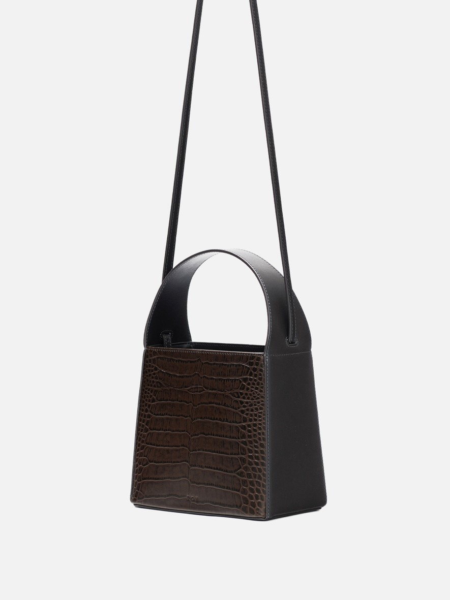 Panier leather tote bag Umber croco combi