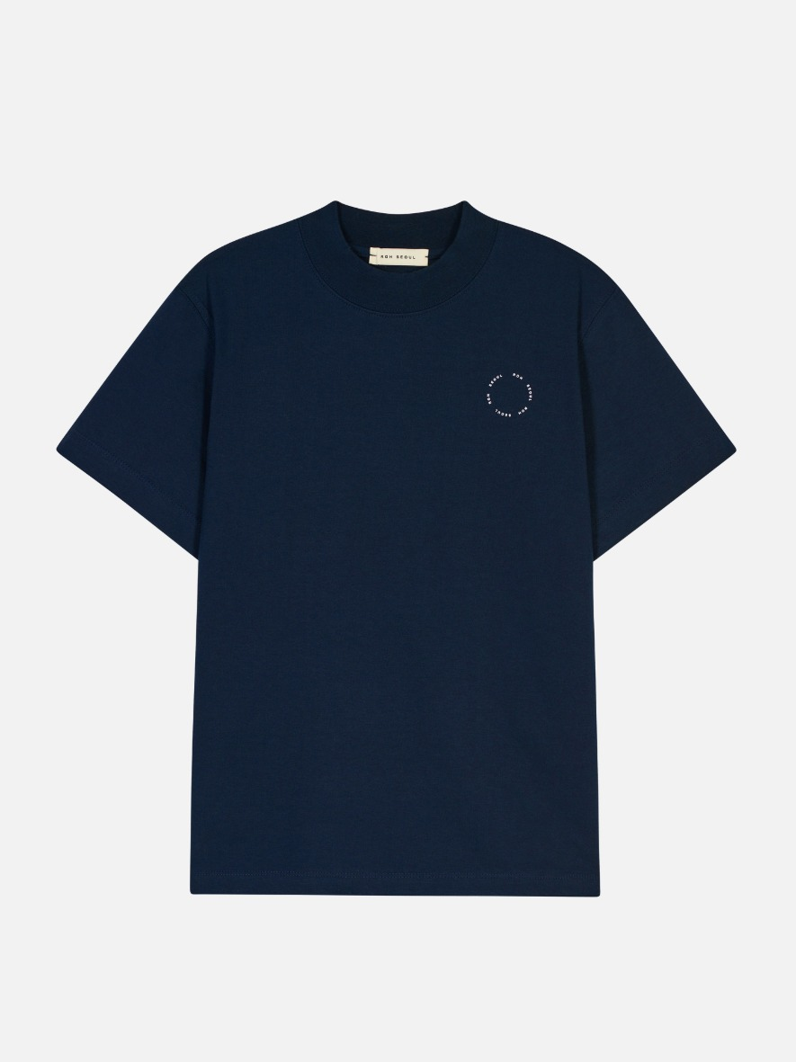 High Neck T-Shirt Navy